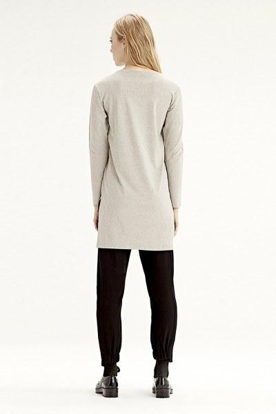 Uzun Kollu T-Shirt (Bej) - Thumbnail