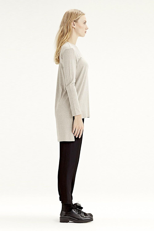 MIZALLE Long-Sleeved T-Shirt (Grey) (1)