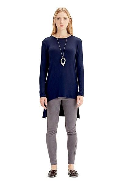 Uzun Kollu T-Shirt (Lacivert) - Thumbnail