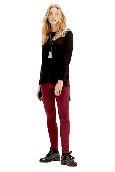 MIZALLE Uzun Kollu T-Shirt (Siyah)
