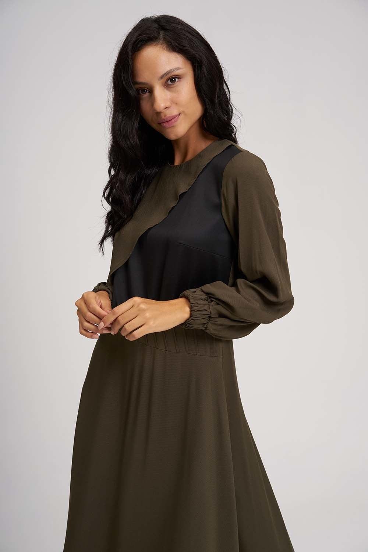 MIZALLE Uzun Parçalı Cupra Elbise (Haki) (1)