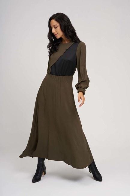 Uzun Parçalı Cupra Elbise (Haki) - Thumbnail