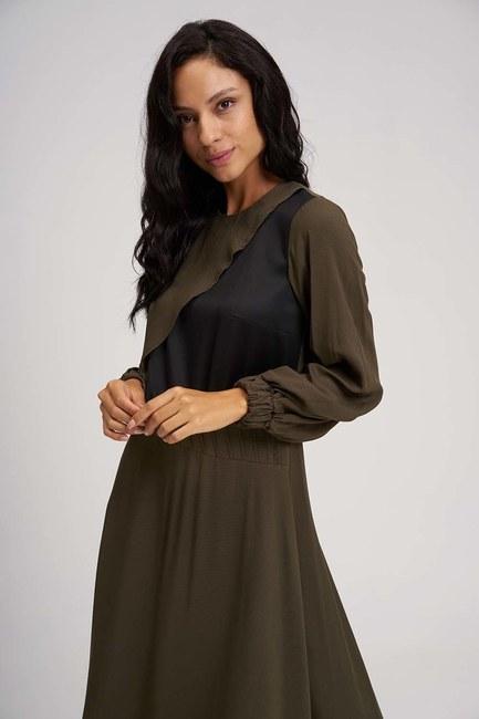 MIZALLE - Uzun Parçalı Cupra Elbise (Haki) (1)