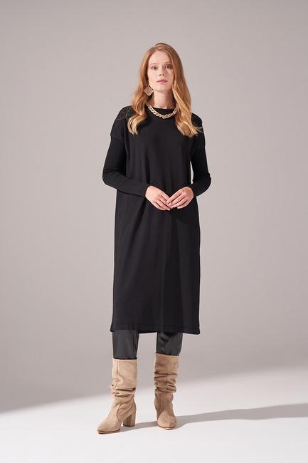 Mizalle - Uzun Rayon Triko Tunik (Siyah)