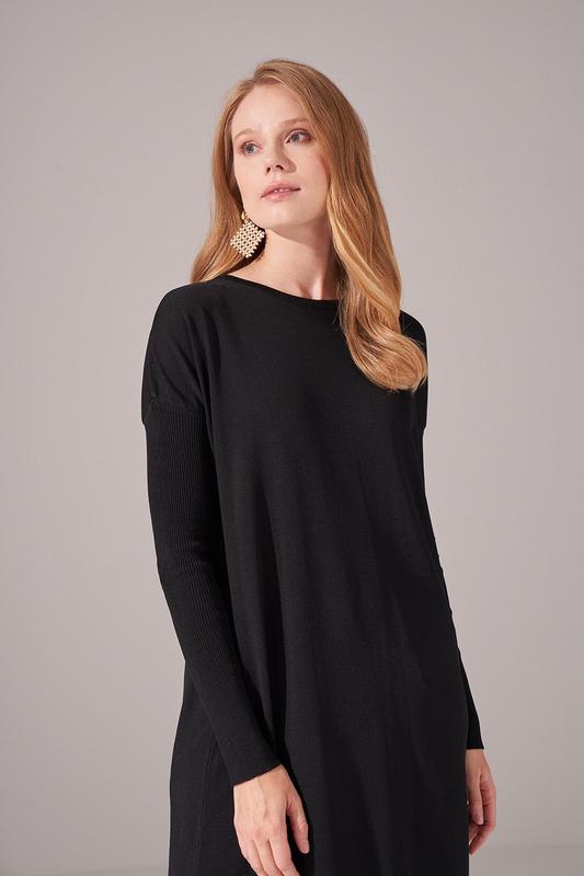Uzun Rayon Triko Tunik (Siyah)