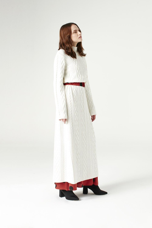 MIZALLE Uzun Triko Elbise (Ekru) (1)