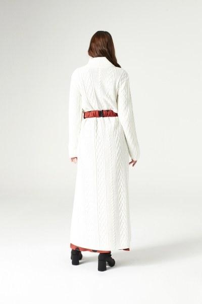Uzun Triko Elbise (Ekru) - Thumbnail