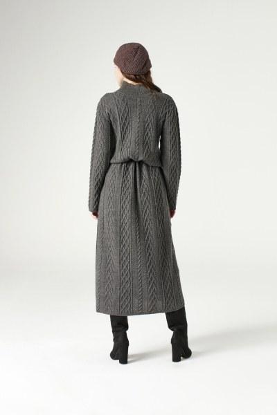 فستان تريكو طويل(رمادي) - Thumbnail