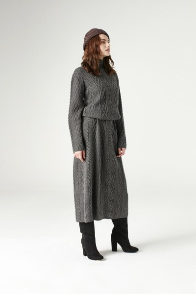 MIZALLE - Long Tricot Dress (Grey) (1)