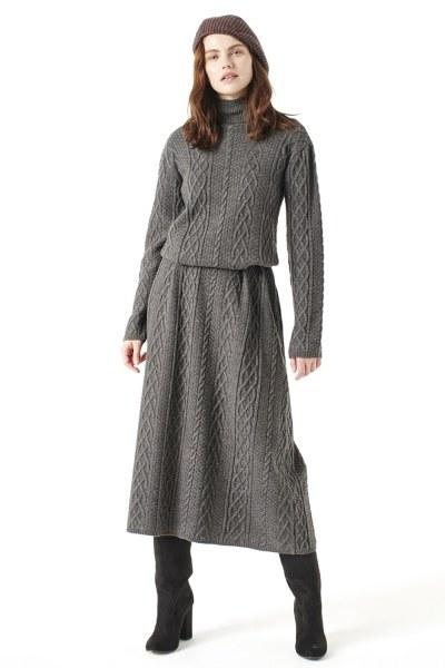 MIZALLE Uzun Triko Elbise (Gri)