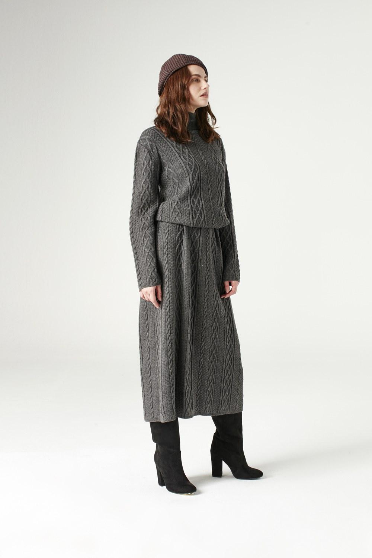 MIZALLE Uzun Triko Elbise (Gri) (1)