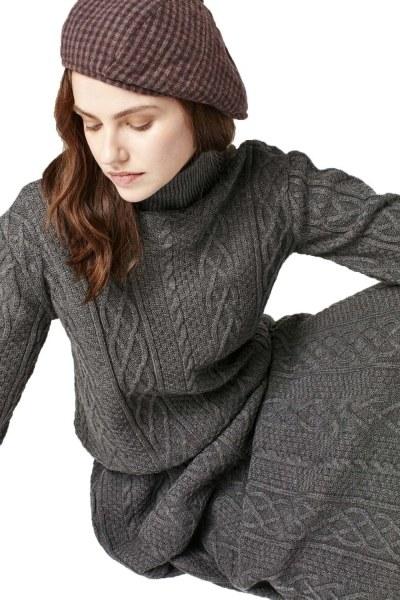 Uzun Triko Elbise (Gri) - Thumbnail