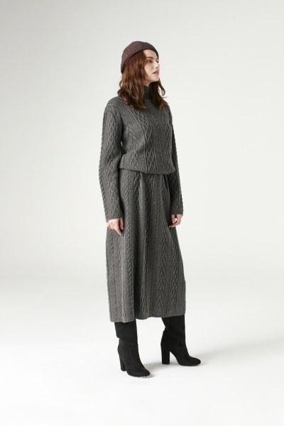 MIZALLE - Uzun Triko Elbise (Gri) (1)