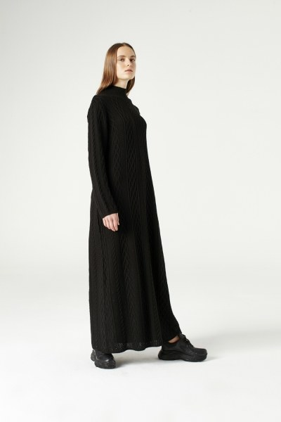 MIZALLE - Long Tricot Dress (Black) (1)