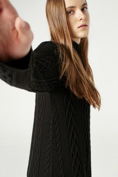 Long Tricot Dress (Black) - Thumbnail