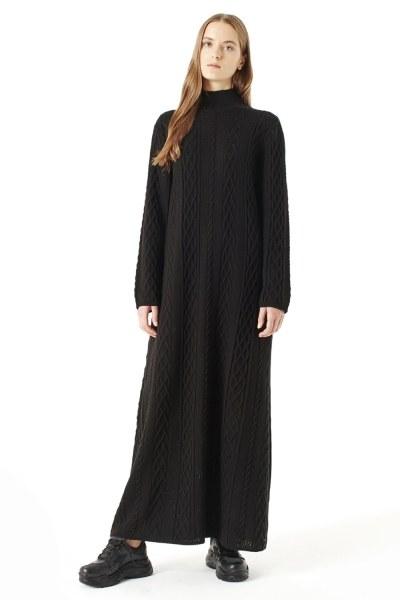 MIZALLE Uzun Triko Elbise (Siyah)