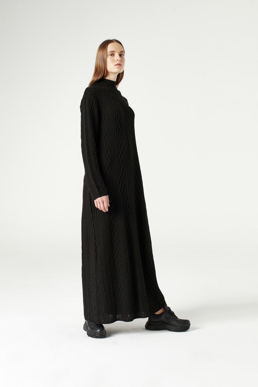 MIZALLE Uzun Triko Elbise (Siyah) (1)