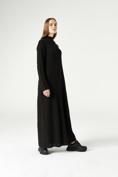 MIZALLE - Uzun Triko Elbise (Siyah) (1)