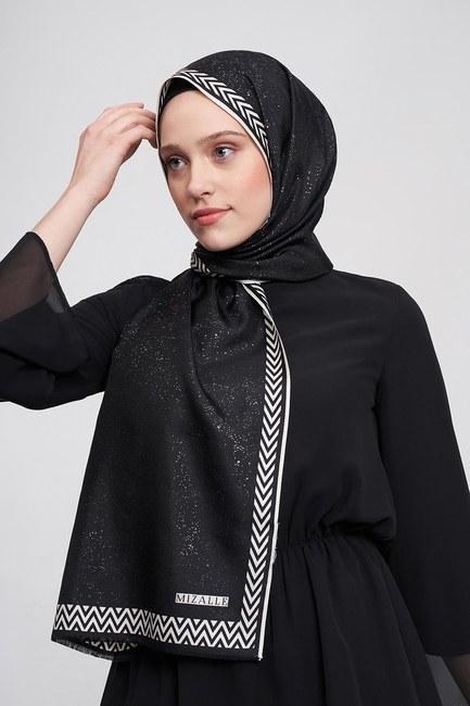 MIZALLE - شال من الحرير مع أوراق الشجر (أسود) (1)