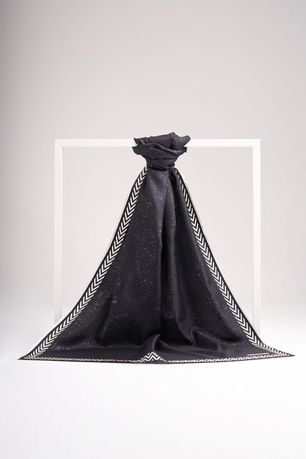 Varak Baskılı İpek Şal (Siyah) - Thumbnail