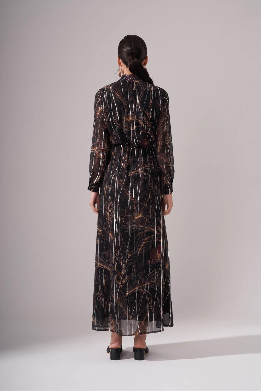 Büzgülü Desenli Siyah Uzun Elbise