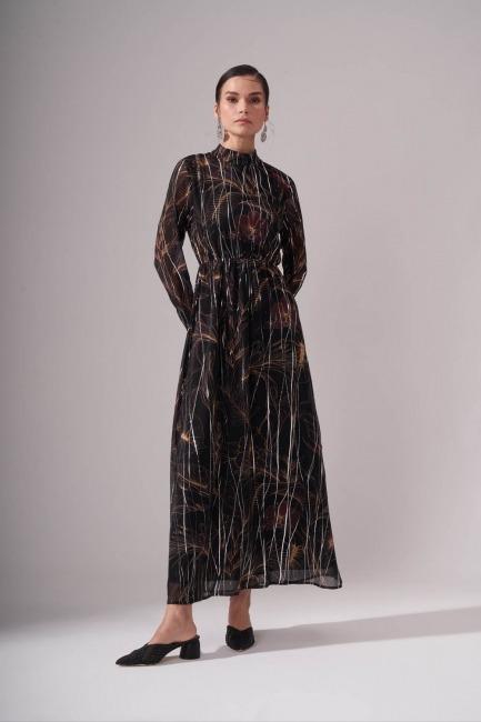 Mizalle - Büzgülü Desenli Siyah Uzun Elbise