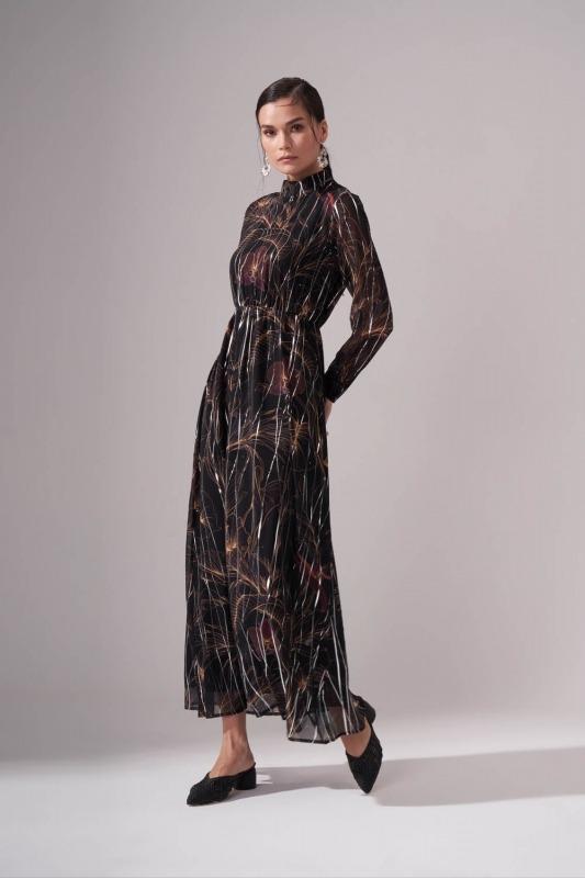 Varak Baskılı Şifon Elbise (Desenli)