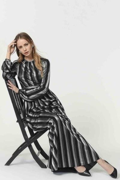 فستان مورق (أسود) - Thumbnail