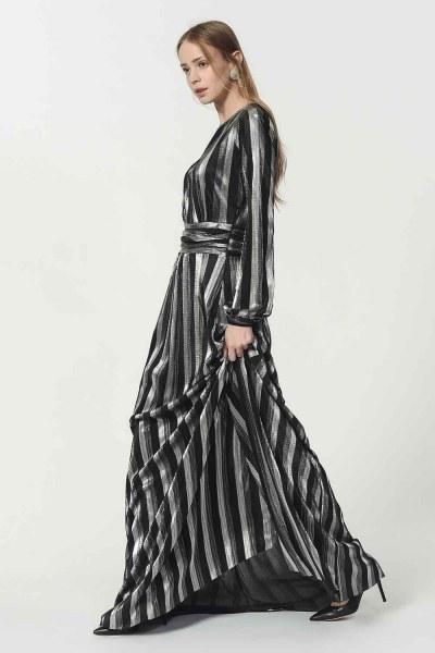 Varaklı Elbise (Siyah) - Thumbnail