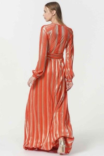 فستان مورق (برتقالي) - Thumbnail