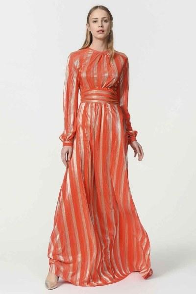 Varaklı Elbise (Turuncu) - Thumbnail