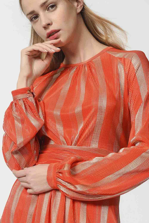 MIZALLE Varaklı Elbise (Turuncu) (1)