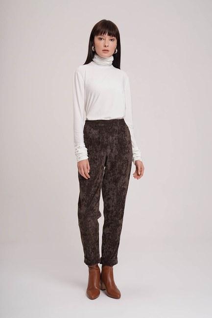 MIZALLE - Velvet Design Trousers (Brown) (1)
