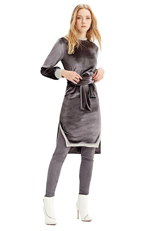 فستان تونيك قطيفة (رمادي)