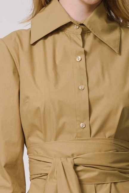 Vertical Collar Shirt Dress (Beige) - Thumbnail