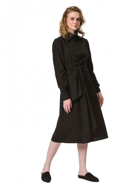 MIZALLE فستان القميص برباط بالخصر (أسود)