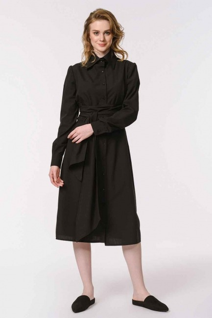 Vertical Collar Shirt Dress (Black) - Thumbnail