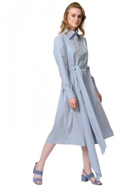 MIZALLE فستان القميص برباط بالخصر (أَزْرَق)