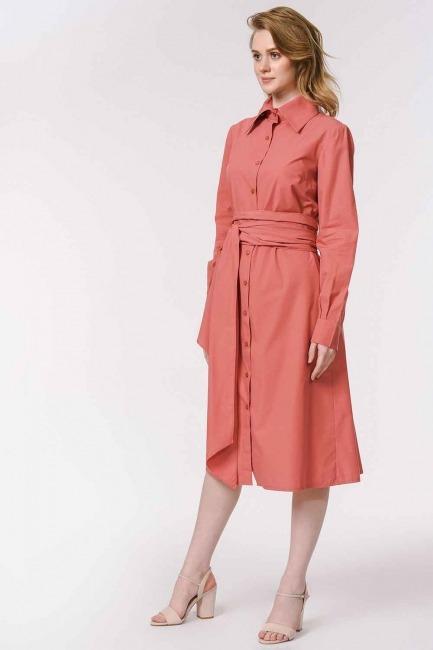 فستان القميص برباط بالخصر (المرجان) - Thumbnail