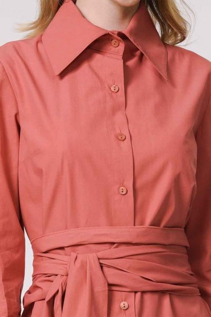 Vertical Collar Shirt Dress (Coral) - Thumbnail