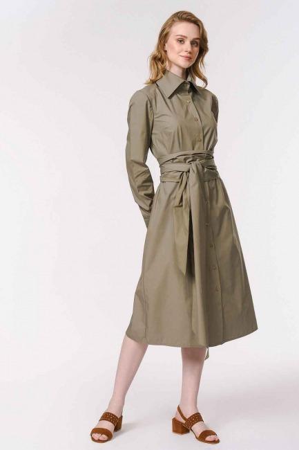 Vertical Collar Shirt Dress (Khaki) - Thumbnail