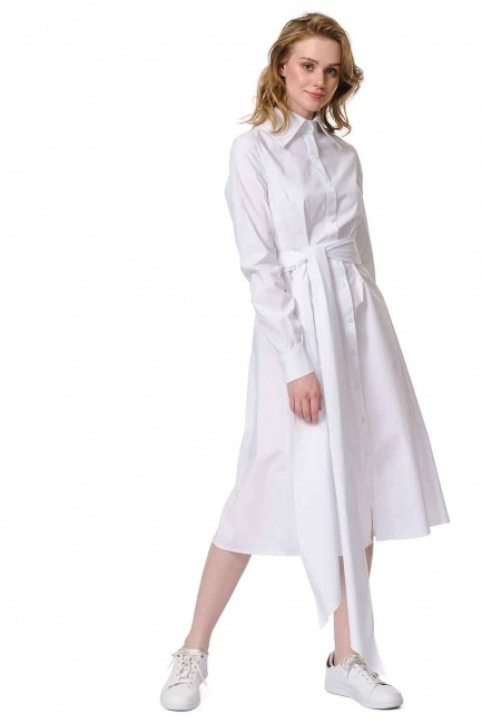MIZALLE فستان القميص برباط بالخصر (أبيض)