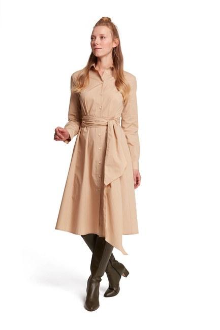 MIZALLE فستان قميص بياقة مستقيمة (بيج)