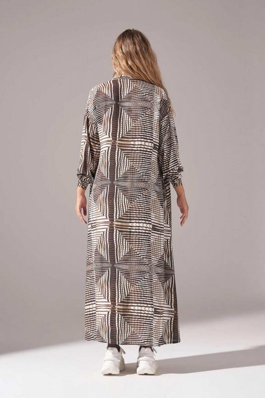 Viskon Baskılı Elbise (Haki)