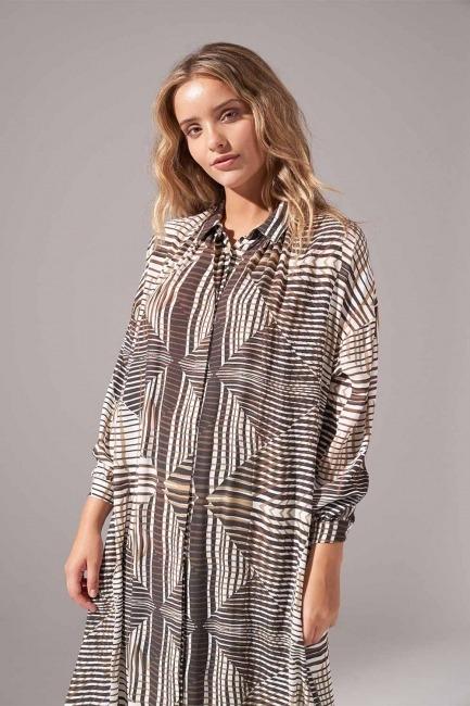Mizalle - Viskon Baskılı Elbise (Haki)
