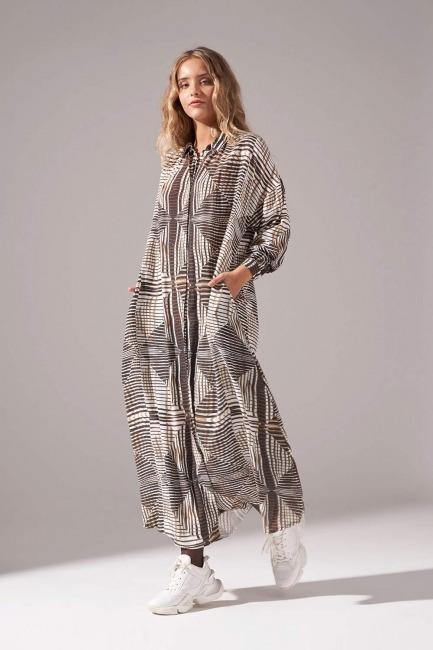 Viskon Baskılı Elbise (Haki) - Thumbnail