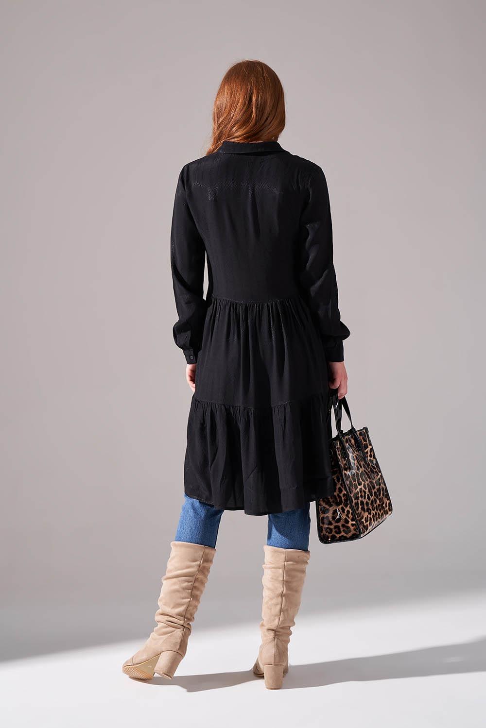 Viskon Desenli Siyah Gömlek Elbise