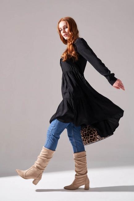 Viskon Desenli Gömlek Elbise (Siyah) - Thumbnail