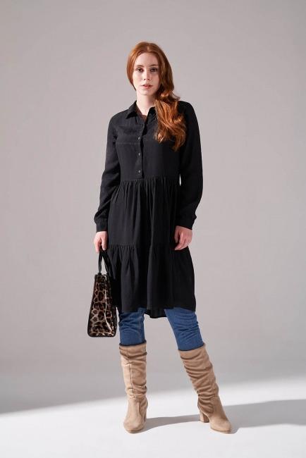 Mizalle - Viskon Desenli Gömlek Elbise (Siyah)