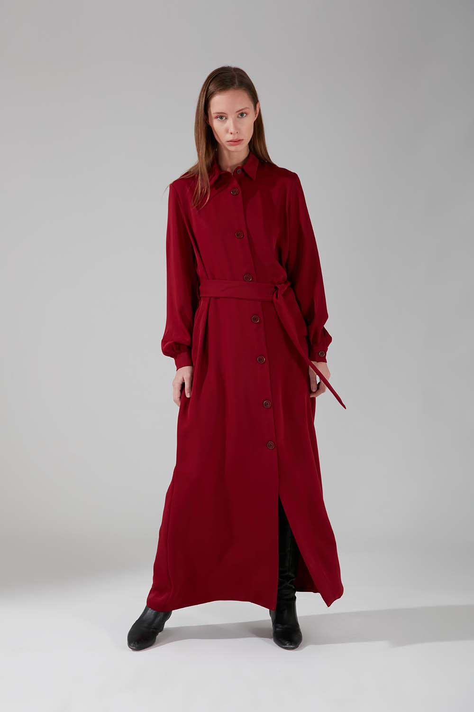 Viskon Uzun Bordo Elbise